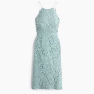 J. Crew Lydia Dusty Shale Green Lace sheath dress